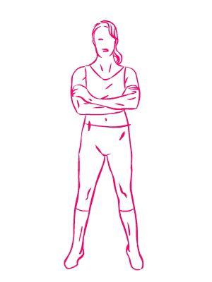esercizio seno mani sui bicipiti