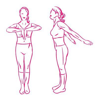 esercizio seno spinte braccia all'indietro