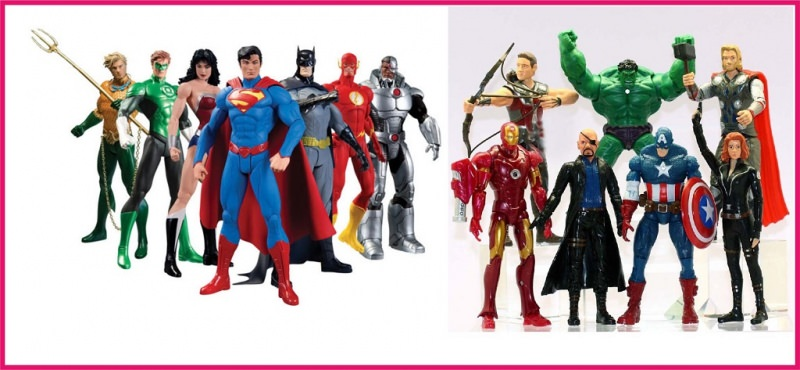 Idee regalo per il Natale dei bambini personaggi super eroi Justice league superman lanterna verde wonder woman batman flash avengers captain america hulk nick fury ironman thor occhio di falco