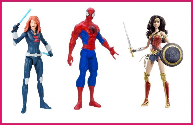 Idee regalo per il Natale dei bambini personaggi super eroi spiderman wonder woman black widow
