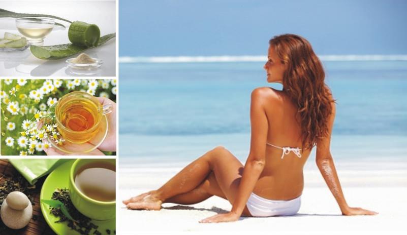 come curare eritema sola rimedi naturali fiori camomilla aloe vera gel tazza tisana verde calmanti estate mare spiaggia donna capelli lunghi castani bikini bianco