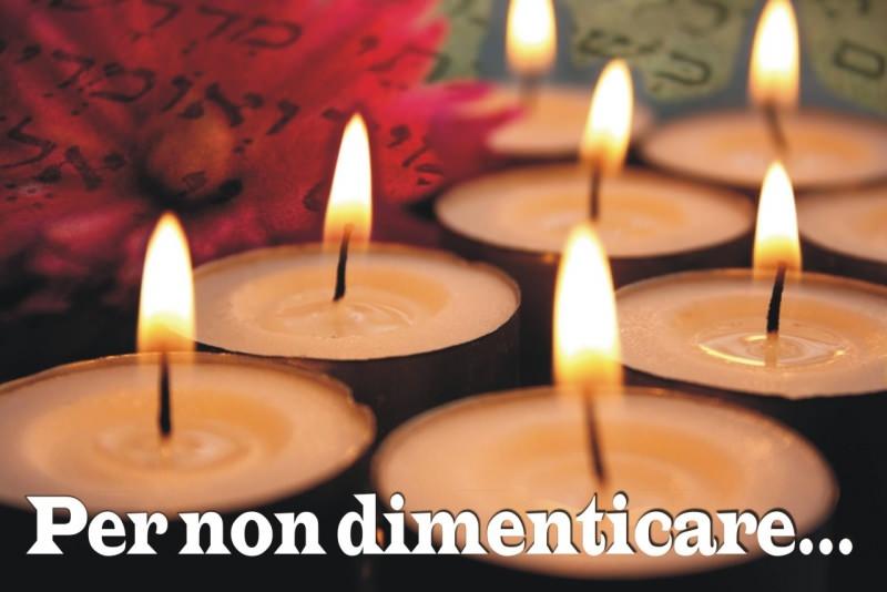 27 gennaio giorno della memoria shoah ebrei candele accese commemorazione per non dimenticare scritta