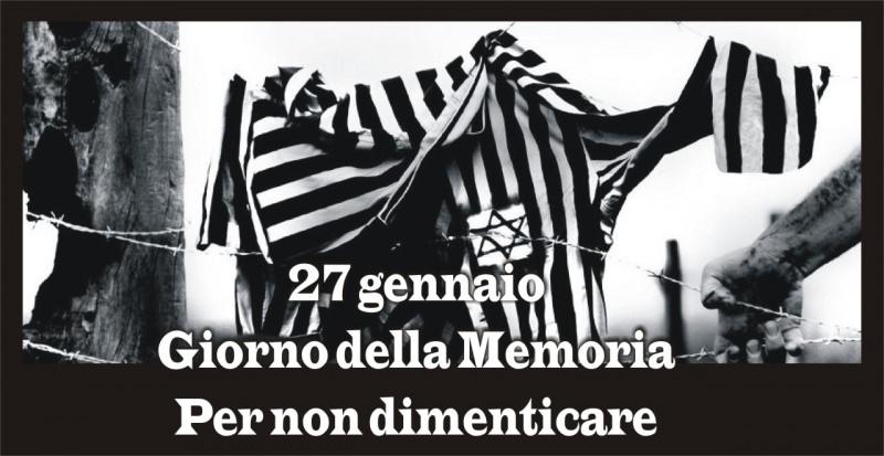 27 gennaio giorno della memoria giornata in commemorazione delle vittime dell'Olocausto shoah ebrei campo di concentramento di Auschwitz camicia righe bianco nero filo spinato