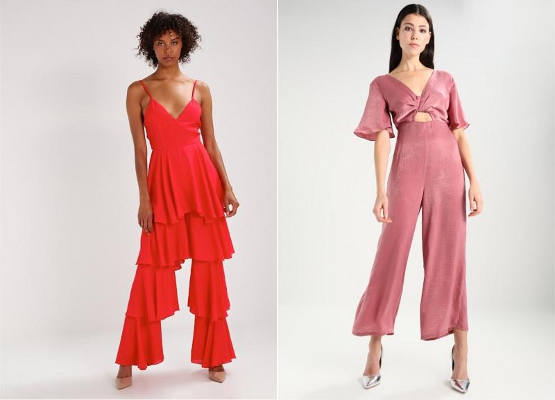 Natale 2017: i look per essere trendy ed eleganti moda fashion jumpsuit da sera rossa tuta rosa scarpe argento