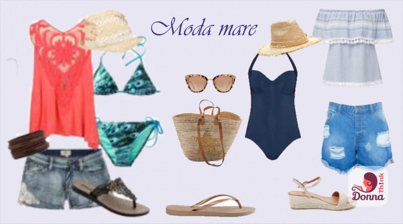 La spiaggia ti aspetta! Ecco tutto ciò di cui hai bisogno la prossima estate outfit estivi costume da bagno intero blu bikini cappello di paglia sandali infradito shorst jeans camicetta rossa occhiali da sole borsa per il mare di paglia sandalo con zeppa camicetta azzurra