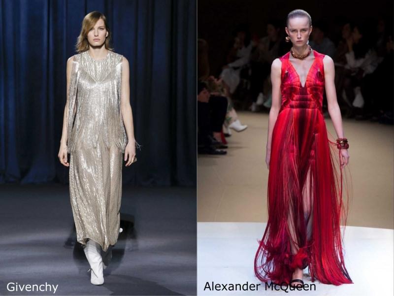 Moda cosa comprare per rinnovare il guardaroba autunno inverno abito con grange argento Givenchy lungo rosso Alexandre McQueen