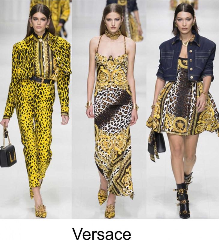 Moda 2018, le tendenze principali primavera estate sfilata passerella modelle Versace stampa animalier