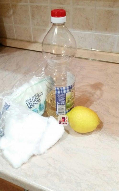 aceto di vino bianco bottiglia cotone idrofilo pretagliato limone