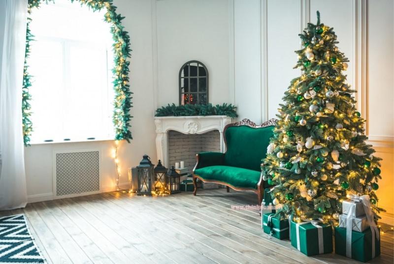 soggiorno con decorazione natalizie albero di natale verde oro ghirlanda finestra