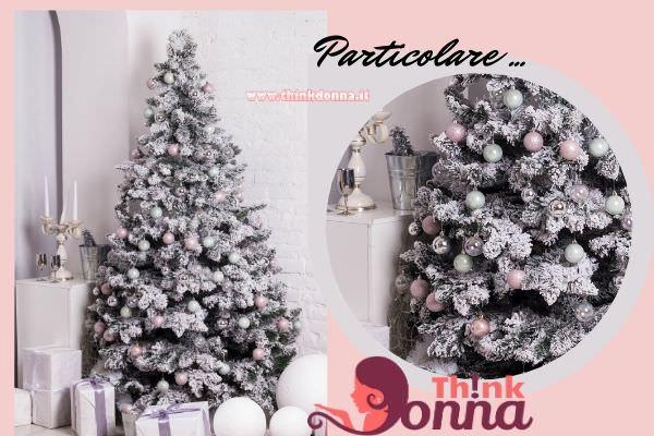 albero di natale rosa argento decorazione natalizia casa
