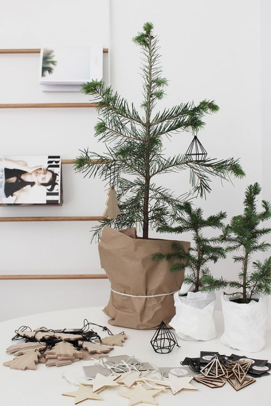 Albero di Natale in stile scandinavo | Decorazioni natalizie nordiche geometriche minimalismo