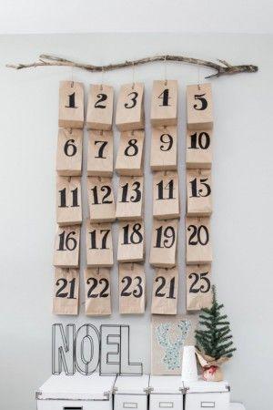 Albero di Natale in stile scandinavo | Decorazioni natalizie nordiche calendario dell'Avvento sacchetti carta
