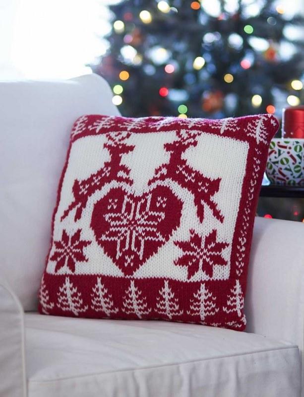 Albero di Natale in stile scandinavo | Decorazioni natalizie nordiche cuscino natalizio lana renne rosse