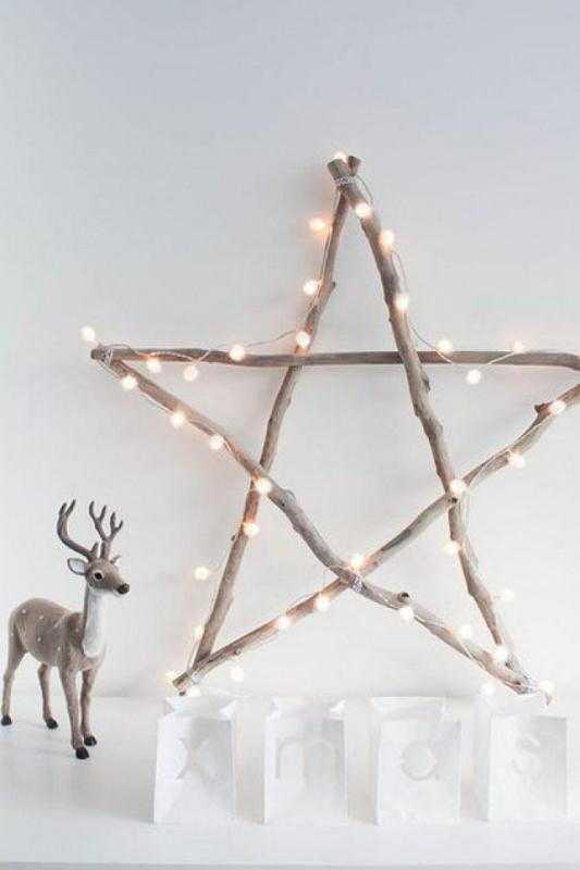 Albero di Natale in stile scandinavo | Decorazioni natalizie nordiche stella luci led renna xmas