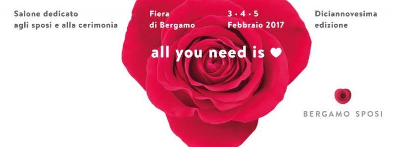 Bergamo Sposi: 10 motivi per andare alla fiera degli sposi salone dedicato cerimonia rosa rossa scritta all you need is love