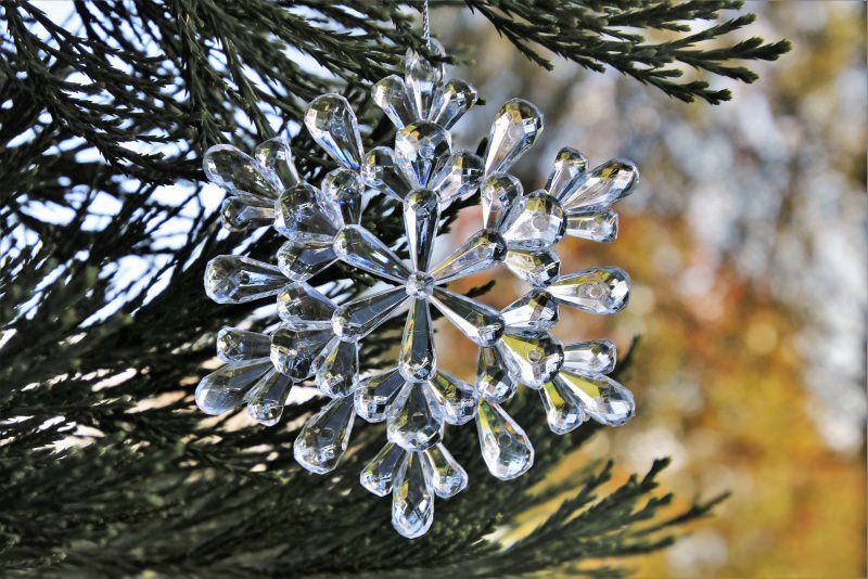 Natale 2018 | Addobbi natalizi| Idee | Colori | Decorazioni cristallo fiocco di neve ramo