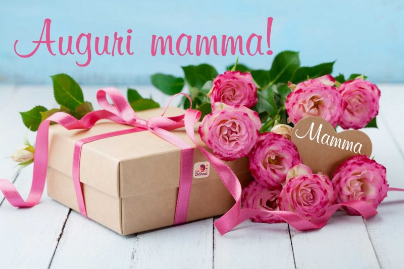 auguri mamma rose rosa pacco regalo cuore