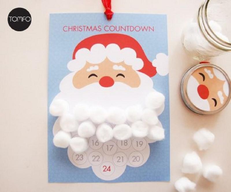 Quanto manca a Natale? Prepara il Calendario dell'Avvento fai da te e inizia il conto alla rovescia babbo natale disegno stampa barba batuffoli cotone countdown christmas