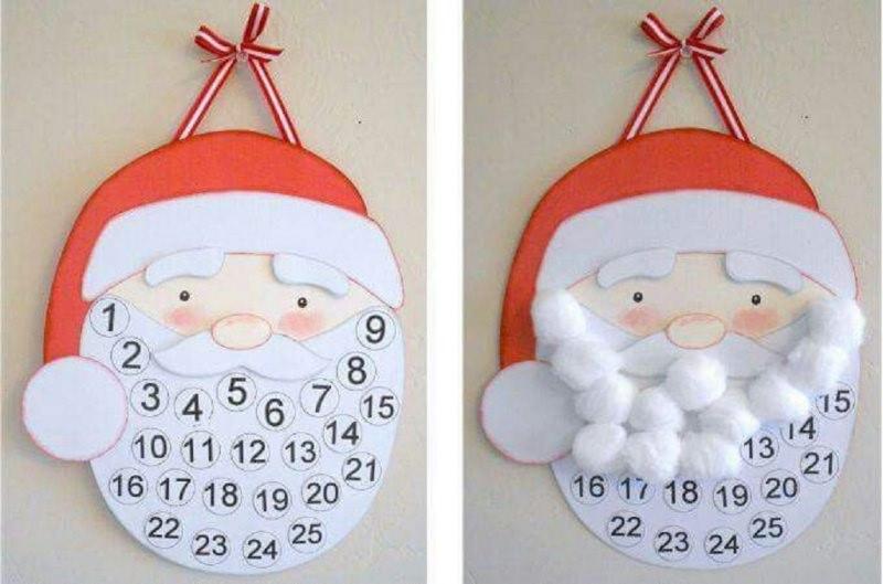 Quanto manca a Natale? Prepara il Calendario dell'Avvento fai da te e inizia il conto alla rovescia disegno stampa faccia babbo natale cappello nastro rosso bianco numeri countdown