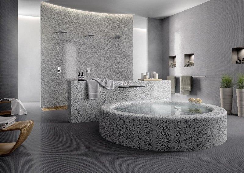 Come arredare un bagno di lusso rivestmento mosaico doccia vasca rubinetteria