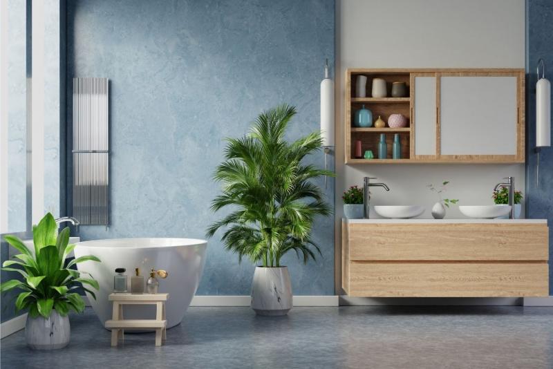 arredo bagno vasca pianta foglie verdi profumi due lavabi mobile cassetti