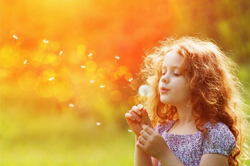 bella bambina con lunghi capelli rossi soffia su fiore soffione tarassaco tramonto
