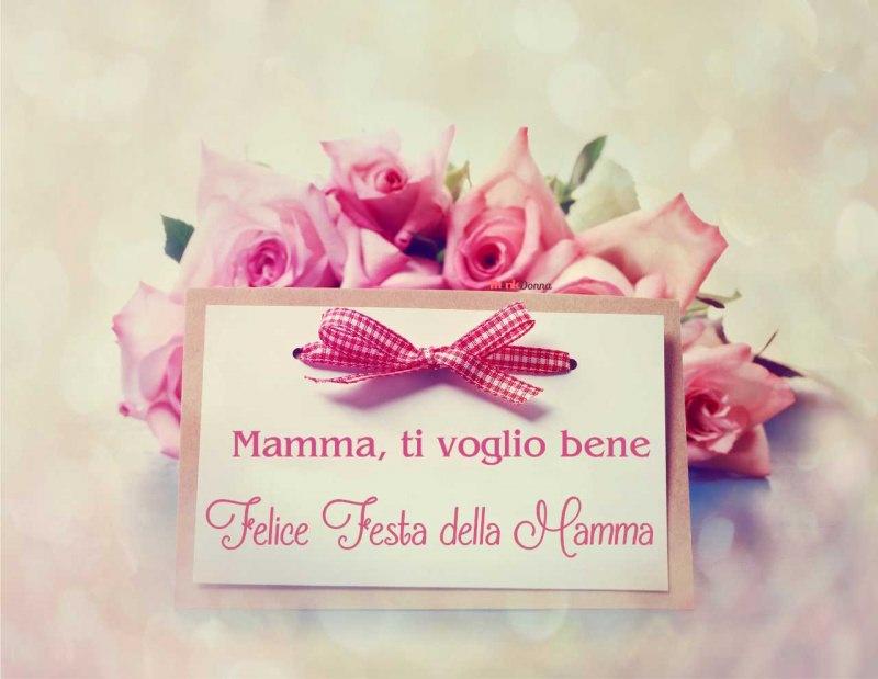 festa della mamma biglietto auguri scritta rose rosa