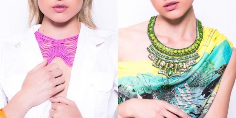 Mini guida ai gioielli in vacanza bijoux blue point firenze collana perline rosa donna capelli biondi giacca bianca collana perle verdi perline abito fantasia acquamarina giallo