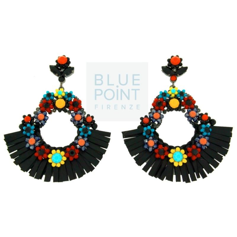 """Mini guida ai """"gioielli in vacanza"""" orecchini blue point firenze fiori colorati giallo turchese arancione rosso viola nero frange"""