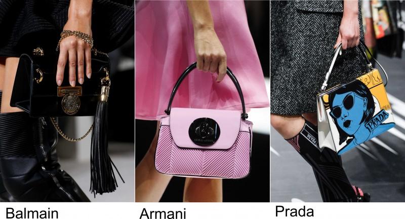 Gli accessori moda, le tendenze principali della prossima stagione Quale sarà la borsa più alla moda nella primavera-estate 2018? sfilate Balmain Giorgio Armani Prada