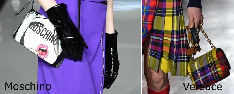 Moda donna cosa comprare per rinnovare il guardaroba autunno inverno borse Moschino gonna a pieghe qadri colori borsa Versace