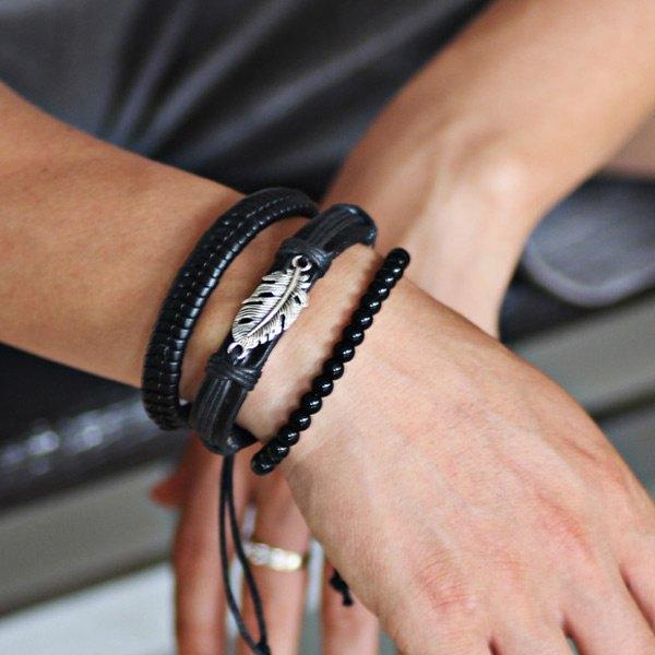 come Scegliere i bracciali da uomo cuoio perle nere foglia acciaio