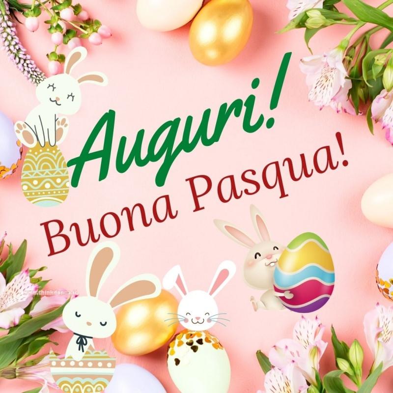 auguri buona pasqua uova decorate coniglietti fiori tulipani