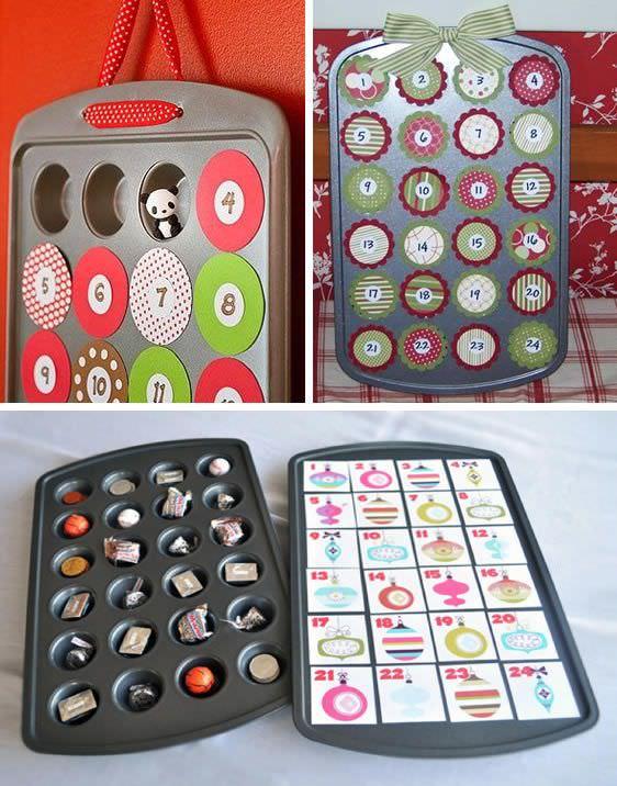 Simpatici calendari dell'Avvento Idee fai da te calendario stampo muffin