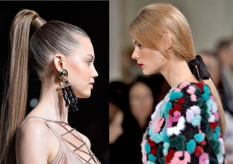 Come porti i capelli? Tendenza moda autunno inverno 2017 - 2018 viso donne modelle ponytails coda di cavallo alta capelli lisci castano chiaro capelli biondo ramato coda bassa profilo nastro velluto nero