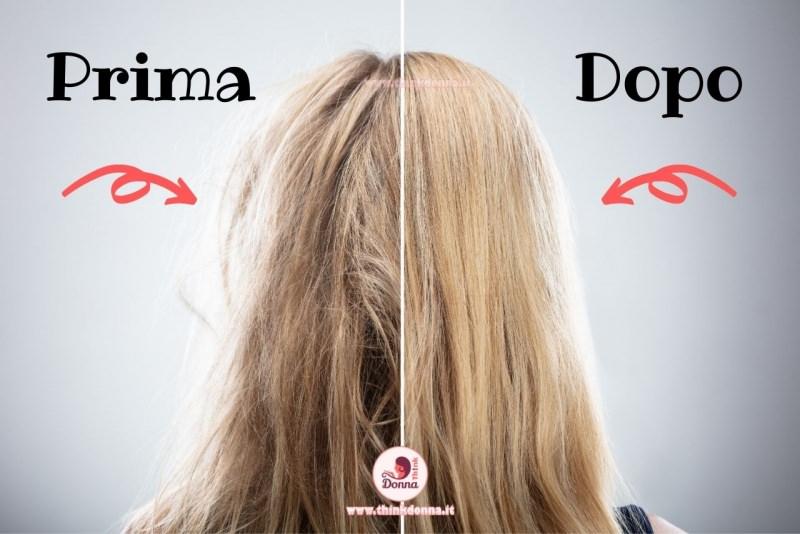 capelli sfibrati spenti prima e dopo lisci setosi