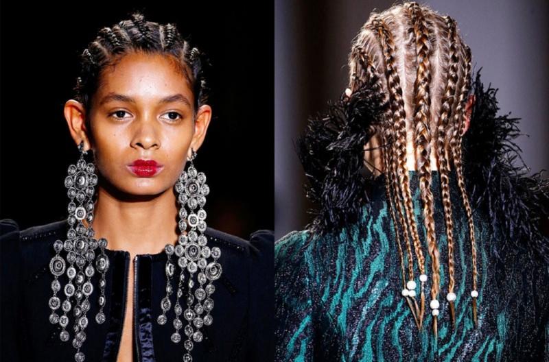 Come porti i capelli? Tendenza moda autunno inverno 2017 - 2018 modelle viso donna trecce tribali afro capelli neri orecchini pendenti donna di spalle trecce tribali afro capelli biondi perline