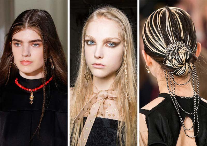 Come porti i capelli? Tendenza moda autunno inverno 2017 - 2018 modelle sfilate viso donna capelli lisci castani treccine capello biondo chignon con fili beige