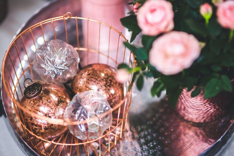 decorazioni natalizie metal oro rosa vetro rame