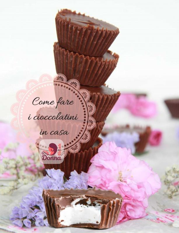 cioccolatini ripieni fai da te cioccolato al latte farciti bianco fiori rosa azzurro lilla rosa fiorellini