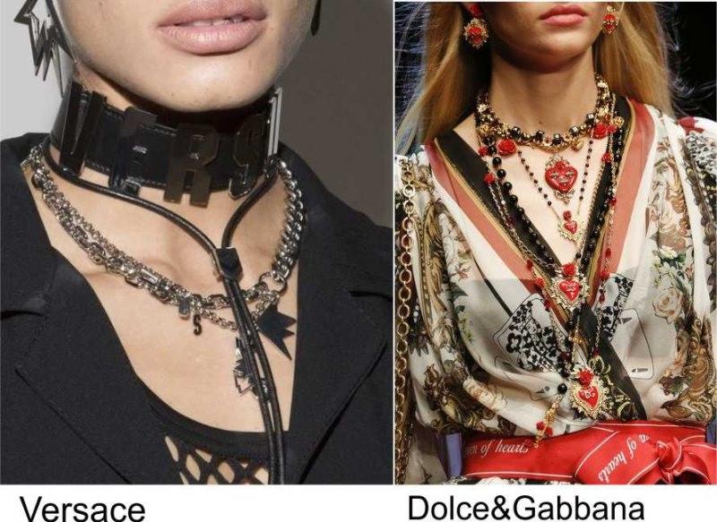 Gli accessori moda, le tendenze principali della prossima stagione primavera estate 2018 collane Versace nera Dolce & Gabbana rossa