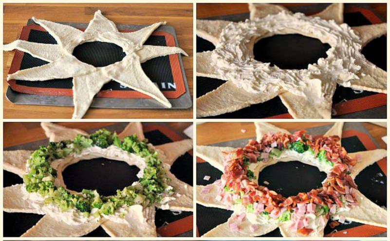 corona pasta sfoglia preparazione triangoli pasta verdure broccoli peperone rosso formaggio crema cremoso antipasto di natale centrotavola natalizio