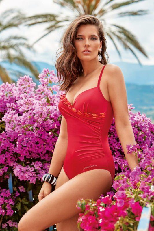 costumi da bagno Amarea modello intero rosso fiori