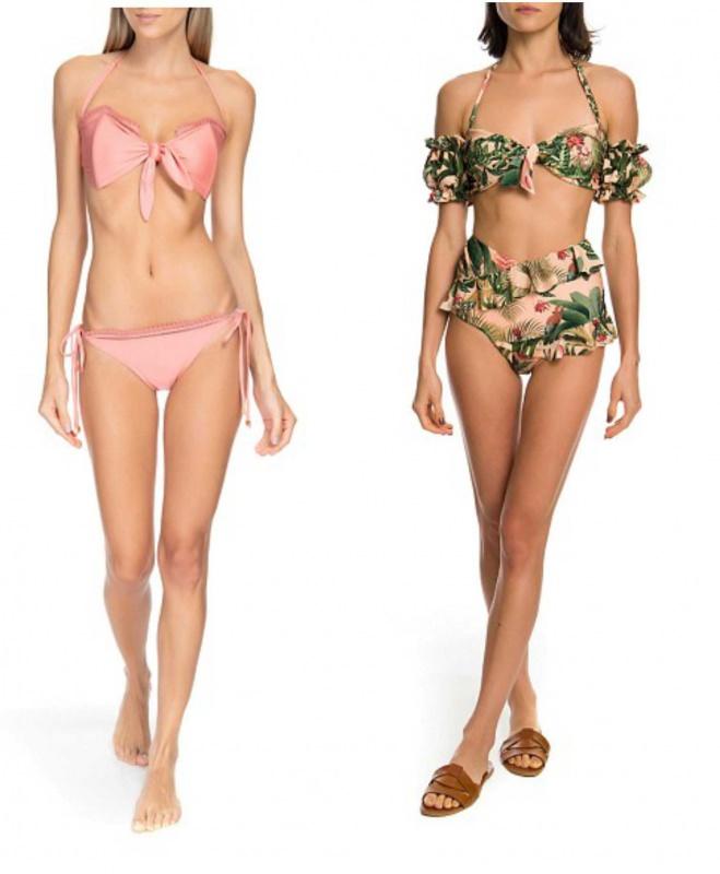 costumi da bagno PatBo bikini rosa stampa tropicale vita alta
