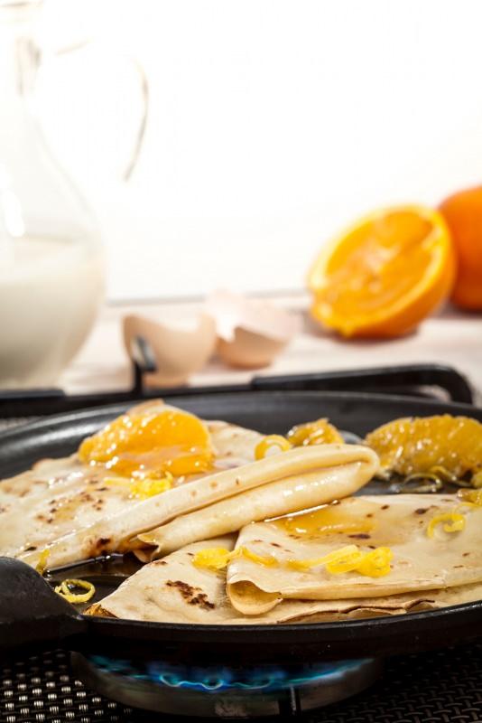 crêpes suzette arancia padella