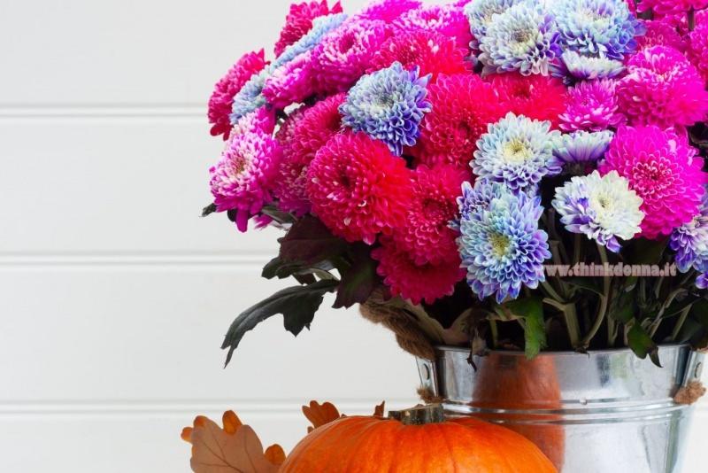 vaso di zinco lucido con fiori crisantemi rosso azzurro zucca arancione