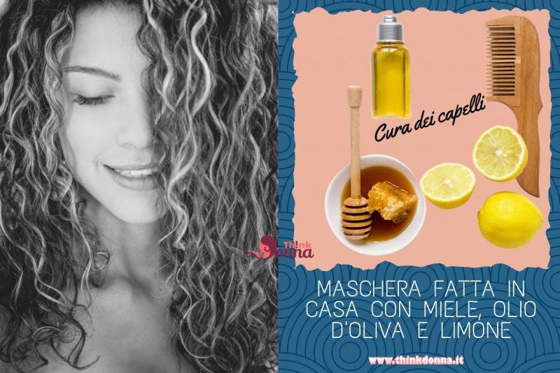 maschera fatta in casa miele olio oliva limone donna capelli ricci