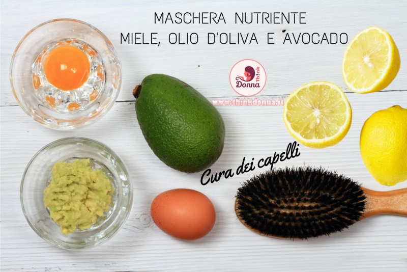ingredienti maschera nutriente miele olio oliva avocado tuorlo uovo limone