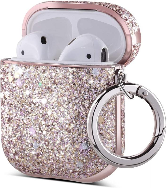custodia per airpods Ulak glitter rosa