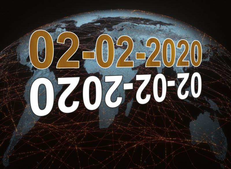 data palindroma speciale mondiale 02/02/2020 febbraio mappa mondo